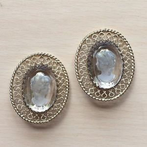 Vintage whiting & Davis cameo earrings